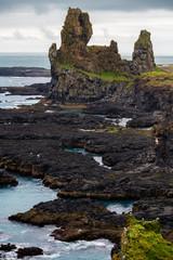 Beautiful view of Londrangar Rocky cliffs in Snaefellsnes Peninsula - Iceland.