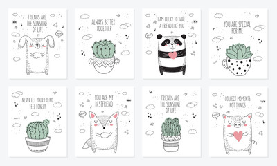 Vector set of postcards with animals, house plants and slogan about friend. Doodle illustration
