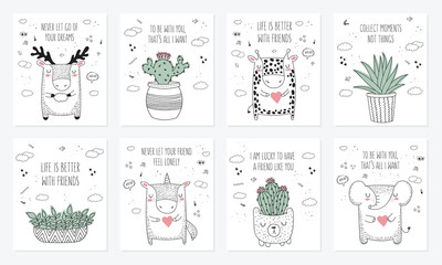 Vector set of postcards with animals, house plants and slogan about friend