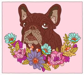 French Bulldog on floral border streamer dog