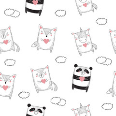 Vector seamless pattern with graphic animals. Doodle illustration