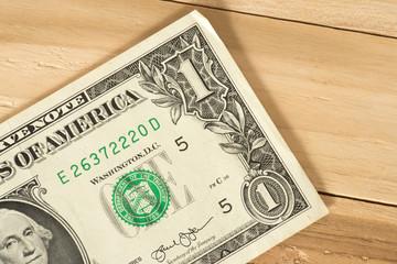 Eine Nahaufnahme von einem Dollar Geldschein