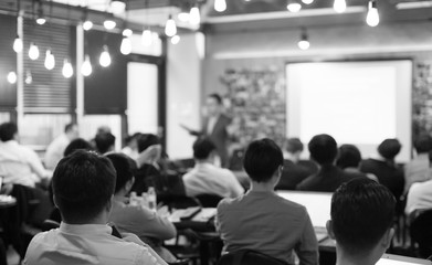 Audience Listens to Lecturer at a Conference Meeting Seminar Training. Group of People Hear Presenter Give Speech . Corporate Manager Speaker Gives Business Technology and Economic Forecast.