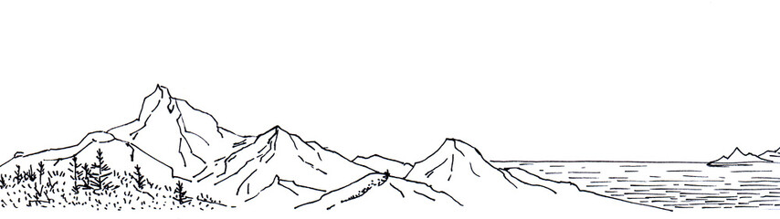 Black line ink style sketch panorama. Hand made.