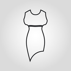 Dress isolated flat linear vector icon