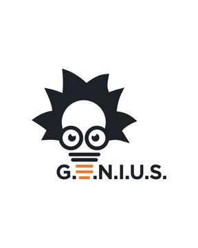 Genius mind, brain logo template