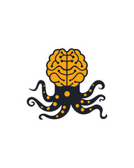 Octopus brain logo vector