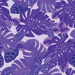 Seamless pattern of tropical leaves on purple background. Vector set of exotic tropical garden for holiday invitations, greeting card and fashion design.
