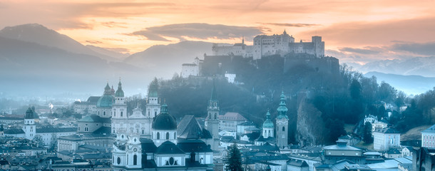 Panoramic view of Salzburg at winter morning