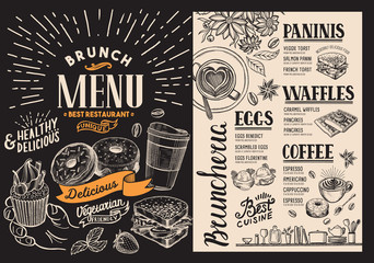 Brunch restaurant menu. Vector food flyer for bar and cafe. Design template on blackboard background with vintage hand-drawn illustrations.