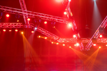 blurred Stage lights on concert or Lighting equipment with Laser rays beams