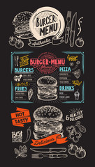 Food  menu for burger restaurant. Vector food flyer for bar and cafe. Design template with vintage hand-drawn illustrations.