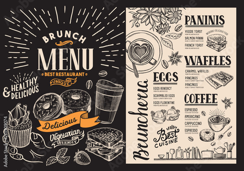 brunch restaurant menu vector food flyer for bar and cafe design