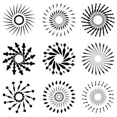 Set of Retro Brush Sun Burst Shapes. Vintage logo, labels, badges. Vector design element isolated. Minimal black firework burst