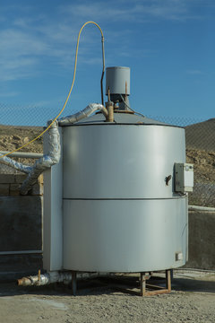 Modern biogas factory, using sugar beet pulp as a renewable form of energy production. biogas plant
