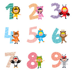 numbers with kids in animal costume