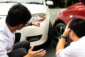 Car crash on the road ,wait insurance claim . Insurance claim concept .
