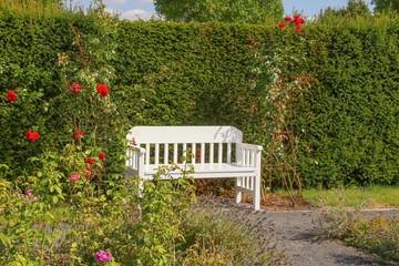 Gartenbank, Garten, Rast, Rosen
