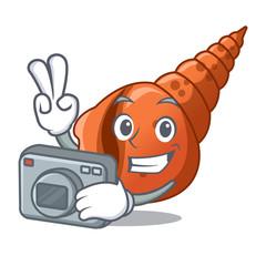Photographer long shell mascot cartoon