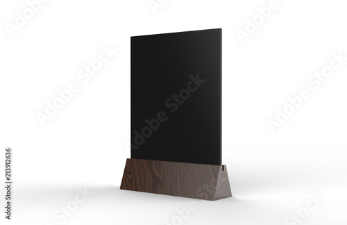blank table tent mock up template on isolated white background