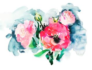 handmade watercolor painting of pink roses, beautiful artwork