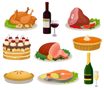 Flat vector set of traditional holiday food and drinks. Tasty meal and beverage. Delicious dishes for dinner. Sweet desserts
