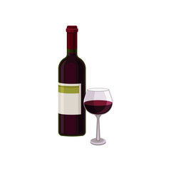 Bottle of red dry wine and glass. Alcoholic beverage. Flat vector element for promo banner or poster of liquor store