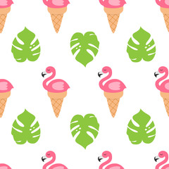 Flamingo in ice cream cone. Seamless pattern. Repeating texture. Fabric print.