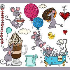 Happy mouse set digital elements