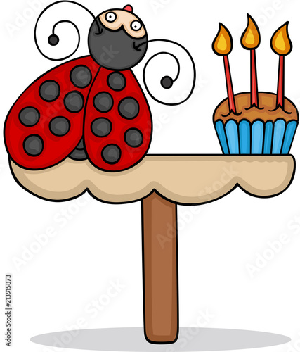 Cute Ladybug With Birthday Cake