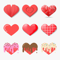 Set of Vector hearts set in Different style such as  paper art, polygon art, 3d, food style, etc.