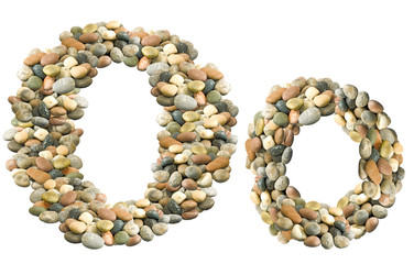 image of letter O made of stones on white background