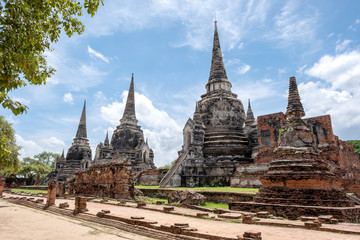 An ancient temple and pagoda in Ayutthaya , Thailand