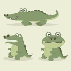 Cute crocodile  cartoon vector set