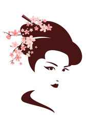 japanese geisha among cherry tree blossom vector portrait