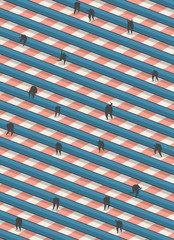 People climbing striped stairs in isometric view