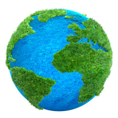 green grass Earth 3D illustration