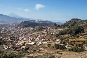 Landscape of Tenerife villages with Teide at background