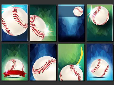 Baseball Poster Set Vector. Empty Template For Design. Promotion. Base. Baseball Ball. Modern Tournament. Sport Game Event Announcement. Flyer, Banner Advertising. Blank Illustration