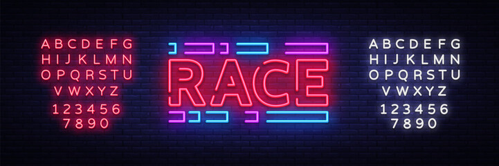 Race neon sign vector. Racing design template neon sign, light banner, neon signboard, nightly bright advertising, light inscription. Vector illustration. Editing text neon sign