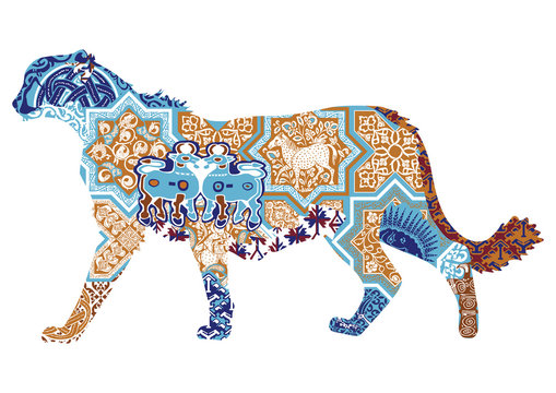 Asian cheetah decorated with Iranian patterns
