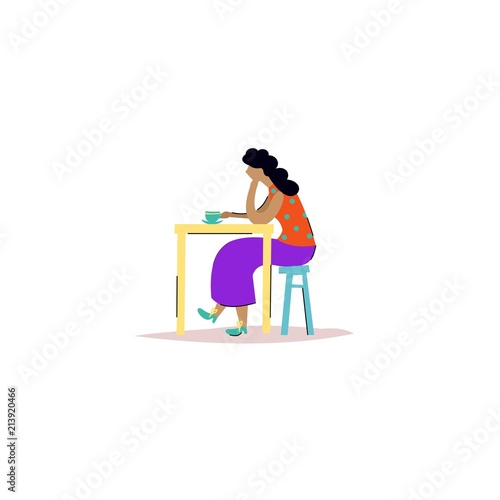 Cute vector illustration with a girl at the table  Cartoon
