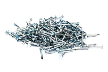 Heap of metal nails on a white background