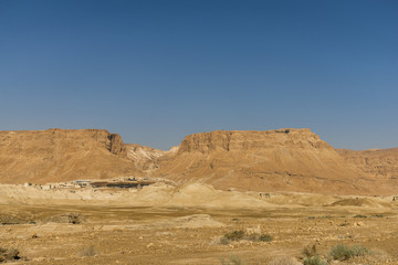 Masada fortress view from the desert
