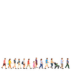 Wall Mural - vector, isolated, set, crowd of people, people go