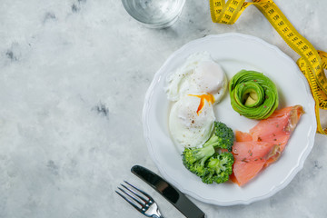 Ketogenic food concept - plate with keto food