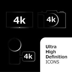 4k icon on black background
