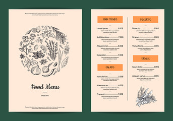 Vector restaurant or cafe menu with hand drawn herbs and spices