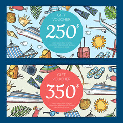 Vector hand drawn summer travel elements discount or gift card voucher templates illustration