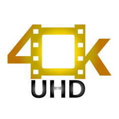 4k gold icon with UHD